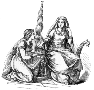 Frigga with her spindle, and with Fulla and her box nearby