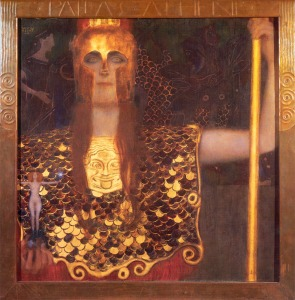 Painting of Athena by Gustav Klimt