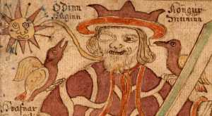 Odin and his ravens, from an Icelandic text.